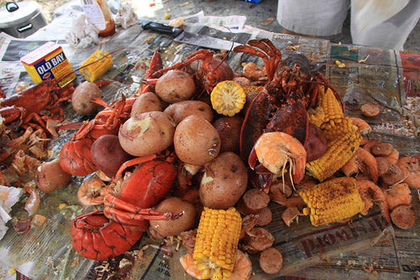 Corn, potatoes, and lobster